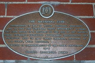 Toronto Ontario - Canada - The National Club - Heritage Building - Plaque