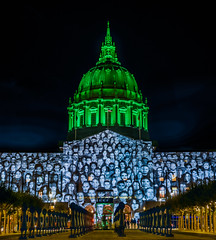 a cop21 paris climate conference holdover (pbo31) Tags: sanfrancisco california color night dark black nikon d810 september 2018 summer boury pbo31 civiccenter plaza cityhall green projection film standingmarch globalclimateactionsummit conference art mapping lightcasting dome
