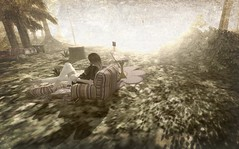 Blinded by the Light. (Seraphina Juliesse) Tags: sad lonely girl brunette trees grass light bright camping couch sofa sepia secondlife sl firestorm