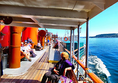Scotland West Highlands Argyll passengers on the paddle steamer Waverley 1 July 2018 by Anne MacKay (Anne MacKay images of interest & wonder) Tags: scotland west highlands argyll passengers clyde paddle steamer waverley sea coast ship 1 july 2018 picture by anne mackay