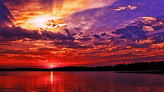 IF Only We Didn't Need Wildfires To Create Sunsets Like This (Bob's Digital Eye) Tags: aug2018 bobsdigitaleye canon canonefs1855mmf3556isll clouds flicker flickr glow glowing lake lakesunsets orange red reflection serene sun sunset sunsetsoverwater t3i water laquintaessenza