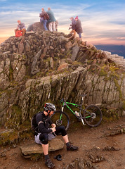 Ready to Ride Back Down (mike.read44) Tags: snowden mountain cycling bike rock crag summit landscape mountainbiking rider climbing sky clouds morning wales