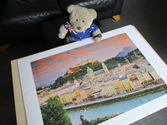 'Ave yew seen Dad's sunglasses? (pefkosmad) Tags: jigsaw puzzle hobby leisure pastime clementoni secondhand used complete salzburg austria photo photograph view scene buildings tedricstudmuffin teddy bear ted animal toy cute cuddly fluffy plush soft stuffed