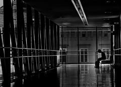 make a break (heinzkren) Tags: austria graz styria steiermark kunsthaus needle schwarzweis bw sw blackandwhite monochrom street streetphotography candid urban building gebäude windows people woman houseofart gallery museum panasonic lumix silhouette architecture architektur room