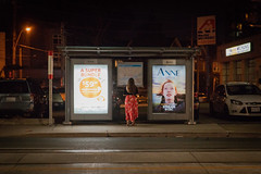Anne (cookedphotos) Tags: toronto ontario canon 5dmarkiv canada ca streetphotography 365project p3652018 anne billboard bus shelter stop woman girl brunette wait waiting dundas night