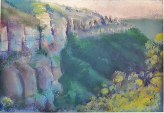 Katoomba Cliffs. Pastel on paper.