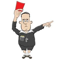 cartoon referee shows a red card vector (cgvector) Tags: angry character football illustration out redcard refree umpire vector