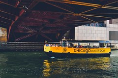 Crusin' the Chicago River (Ray Mines Photography) Tags: cab yellow boat river taxi water chicago