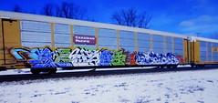 (timetomakethepasta) Tags: karuso karuse funer gcms mexico freight train graffiti art canadian pacific autorack cp
