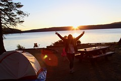 Marlena cheers by Paulina Lake (daveynin) Tags: marlena lake caldera newberry nps oregon camp cmapground campsite tent sunset dawn
