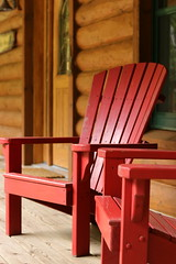 Best seat in the house (Chris Arrigo) Tags: red chair adirondack porch rustic cabin