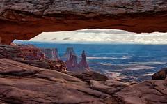 Mesa Arch (HDR, Canyonlands National Park) (thor_mark ) Tags: airporttower aurorahdr aurorahdrpro azimuth90 buckcanyon canvas canyon canyonwalls canyonlands canyonlandsnationalpark canyons capturenx2edited centralcanyonlands colorefexpro coloradoplateau day5 desertlandscape desertmountainlandscape hdr highdesert intermountainwest islandinthesky islandintheskydistrict lasalmountains landscape layersofrock lookingeast mesaarch mesaarcharea middlefork monstertower mostlycloudy nature nikond800e outside overcast portallikeview portalview portfolio project365 sandcastletower sandstonetower sandstonetowers singleimagehdr utahhighdesert utahnationalparks2017 walktomesaarch washerwoman washerwomanarch washerwomanarchmonstertower