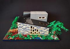 Blue Striped House MOC V (betweenbrickwalls) Tags: lego moc afol contemporaryarchitecture contemporary model modernhome living