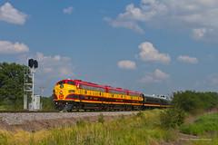 KCS Office Car Special west of Thompson (tim_1522) Tags: railroad railfanning rail missouri mo kansascitysouthern kcs officecarspecial ocs fp9a f9b emd passenger mexico sub subdivision