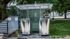 2018 - Belgium - Gent - Urination (Ted's photos - For Me & You) Tags: 2018 belgium cropped ghent nikon nikond750 nikonfx tedmcgrath tedsphotos vignetting peeing ghentbelgium stadgent stainless stainlesssteel toilet reflection railing fountain waterfountain