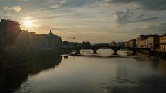 Sunset over the Arno (ep_jhu) Tags: provia x100f bridge firenze sunset river dark reflection fuji italy italia arnoriver evening fujifilm florence provinceofflorence it