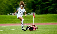 Hair-raising play (stephencharlesjames) Tags: womens sport college sports soccer ball action hair middlebury plattsburgh state ncaa
