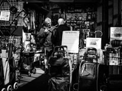 Bags and more Bags (RP Major) Tags: bags street store people men shopping black white bw melbourne market vic