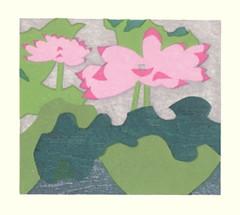 Sacred lotus (Japanese Flower and Bird Art) Tags: flower sacred lotus nelumbo nucifera nelumbonaceae yoichi watanabe modern woodblock print japan japanese art readercollection