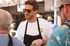Smiling Avocado Guy  011 (LarryJay99 ) Tags: 2018 urban festivals crowds florida people men male man guy guys dude dudes face facialhaie facial studly manly handsome sunglasses glasses goatee mustasche beard smiles urbanite vendor streetpaintingfestival lakeworth
