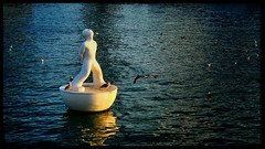 Sculpture flottante (Jean-Louis DUMAS) Tags: réflection reflecting reflets bird oiseaux aertiste artist artistique artistic art sea mer port water sculpture espagne
