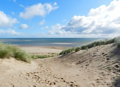 Climbing a Sand Dune, Newburgh Sands, Aberdeenshire, Aug 2018 (allanmaciver) Tags: newburgh sands aberdenshire scotland east coast footsteps height north sea weather clouds white grass climb allanmaciver