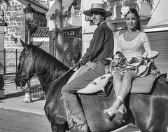 Going to a party by horse. (Only photoshoot, don't be afraid) Tags: party horse bw spain sevilla portrait