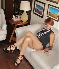 Karen (Karen Maris) Tags: tg tgirl tgurl karen legs tranny trannie transvestite transsexual transgender redhead heels sandals pantyhose tights sheer crossdress crossdresser