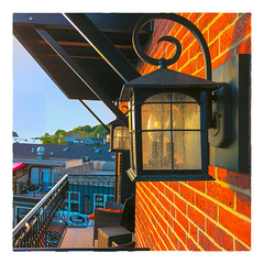 Morning Light (Timothy Valentine) Tags: 2018 0818 wall lantern sunlight vacation ourhotel balcony camden maine unitedstates us