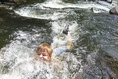 Swimming in the Cold Cold Creek (FAIRFIELDFAMILY) Tags: saluda nc north carolina south river little bradley bradly falls rainbow turtle carson jason taylor grant rock water michelle family swim swimming log tree forest father son mother fairfield winnsboro sc polk county flat climb climbing hiking walking child young boy man pretty