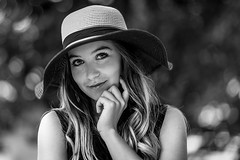 Black & white portrait (Irena Rihova) Tags: czphoto bw monochrome blackandwhite face smile fashion hat beauty beautiful curly hair portraiture girl young woman portrait