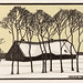 Farm in the snow (1918) by Julie de Graag (1877-1924). Original from the Rijks Museum. Digitally enhanced by rawpixel.
