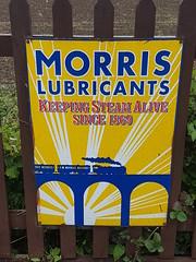 Morris Lubricants sign (DorsetBelle) Tags: northwealdstation morrislubricants vitreousenamelsigns enamelsigns advertisingsigns signs railwaysigns eppingongarrailway