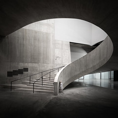 Inspiration (Dan Portch) Tags: tate modern girl looking up inspiration building interior architecture concrete stairs spiral staircase mono monochrome black white minla square fine art child london