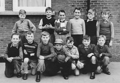 Class photo (theirhistory) Tags: boy children kid school class form pupils trousers jumper shoes wellies hat cap jacket boots
