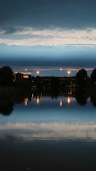 GRONINGEN, THE NETHERLANDS (pwitterholt) Tags: groningen sky lucht evening eveninglight avondlicht avond water reflection reflectie weerspiegeling bluehour clouds wolken canon canoneosm3 colours colors oudewinschoterdiep