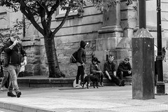 Morning Meeting Of Friends! (WorcesterBarry) Tags: blackwhite bnw blackandwhite buildings places people photographers paths street streetphotography streetphoto smokers trees candid city church walking