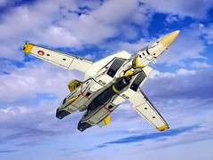"1:100 Macross VF-1J ""Valkyrie"" - US Navy/VF-142 ""Ghostriders"" design (dizzyfugu) Tags: anime macross model kit japanimation battroid valkyrie destroid giant robot gerwalk fighter zentraedi transformers oav dizzyfugu modellbau robotech protoculture vf1 walküre us navy f14 tomcat vf121 vf142 sicklemen ag usn fs16440 grey yellow sky airplane aircraft jet cloud cockpit"