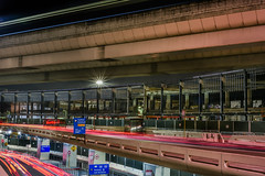 terminal 1 redevelopment (pbo31) Tags: bayarea california night dark black color urban city august 2018 summer boury pbo31 lightstream roadway traffic motion sanfranciscointernational sfo sanmateocounty sanbruno airport aviation terminal over overpass