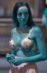 Blue Skin (Scott 97006) Tags: woman female lady blue mermaid costume pretty glitter gold aqua watercolor