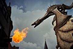 Gringotts Dragon - Diagon Alley (FILM) (Greg Larro Photography) Tags: harrypotter warnerbros wb warner brothers dragon gringotts bank theme park fire flame flames burn burning london diagon alley nikon f film analog photography photograph photo kodak magic witch wizard fantasy jk rowling jkrowling