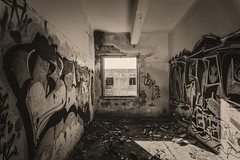 Depression Room (panos_adgr) Tags: sony a6000 monochrome bw sepia tone contrast light dark room wall art perspective architecture abandoned sanatorium parnitha attica greece handheld building