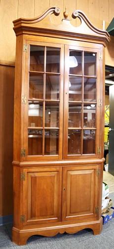 Suters Cherry Broken Arch Top 16-pane corner cupboard ($784.00)