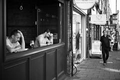 Beer Thinkers (or a tale of two halves) (Foto John) Tags: leicasl leicasl601 leica leicasltyp601 mirrorless summicronm50mmƒ2iv blackwhite blackandwhite blackandwhitethatsright monochrome streetphotography people pub publichouse beer men crouchend london uk