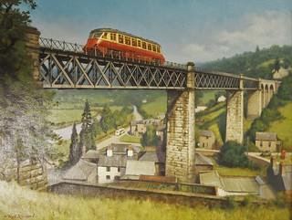 Western Region Railcar Crossing Lydbrook Viaduct.