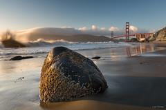 Golden Gate at Dusk (madrones) Tags: rock sand sunset northamerica reflection weather clouds northerncalifornia shadows unitedstatesofamerica beach sanfrancisco wave marshallbeach bayarea bridge california goldengatebridge ca dusk twilight usa waves us