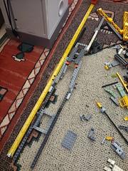 SHIPtember 2018 WIP: Day 1, Frame (Harding Co.) Tags: lego space spaceship shiptember cargo freighter ship big long orange white grey pods minifigure flight flying vehicle wip progress diary engine