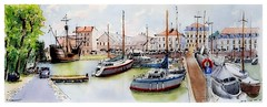 Rochefort - Charente - France (guymoll) Tags: googleearthstreetview rochefort france panoramique panoramic port bateaux ships boats aquarelle watercolour watercolor aguarela charente