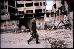 Mostar soldier BiH (Dan Uneken_) Tags: yugoslavia bosnia bosna herzegovina mostar muslim war 1994 camouflage ruins destruction ak47 kalashnikov