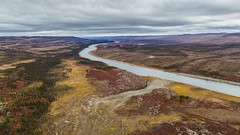 Coppermine River in colors-4480 (Mathieu Dumond) Tags: canada arctic nunavut kugluktuk coppermineriver landscape nature september autumn fall colors leaf river water spruce canon 5dmkiii mathieudumond umingmakproductions willows birch aerial